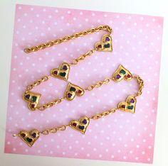 Belt heart, gorgeous vintage belt gold metal with colorful inclusion, gold  ring, fashion Christian Lacroix, 1980, lucillesandcop 4ec151873d4