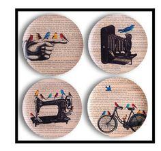 Bird PLATES 4 Melamine Dinner Plates Camera Plates by BlackBaroque, $64.00