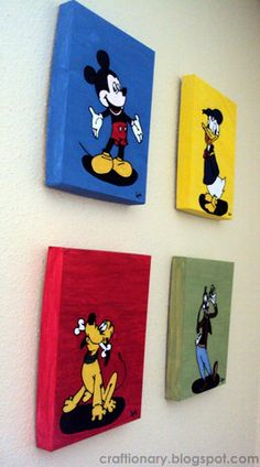 Make kids room wall art inspired by Disney's Mickey mouse, donald duck, goofy and pluto. Kids room wall art made with acrylic paints and thread for textured Disney Themed Rooms, Disney Bedrooms, Mini Toile, Mickey Mouse Bedroom, Kids Room Wall Art, Room Kids, Mickey Mouse Decorations, Disney Wall Art, Disney Paintings