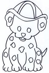 Cute Fire Dog Coloring Page
