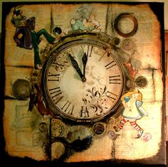 Alice in Wonderland Collage Steampunk OOAK Clock I'm by onahaynes, £150.00
