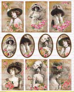 Shabby Chic Bügelbild Frau Nostalgie Nr.1452 von Doreen`s Bastelstube  - Kreativ & Außergewöhnlich auf DaWanda.com