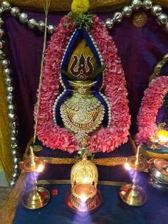 Diy Diwali Decorations, Festival Decorations, Flower Decorations, Kalash Decoration, Silver Pooja Items, Ganapati Decoration, Pooja Room Design, Diwali Diy, Puja Room