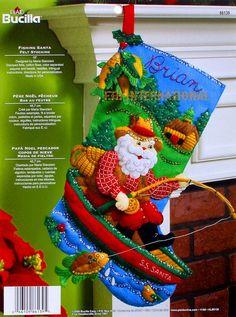 """Bucilla Fishing Santa ~ 18"""" Felt Christmas Stocking Kit #86139 Boat Cabin, Woods #Bucilla"""