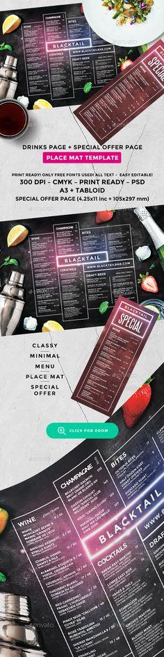 Cocktail Drinks Menu - #Food #Menus Print #Templates Download here:  https://graphicriver.net/item/cocktail-drinks-menu/20110449?ref=alena994