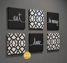 Black White Eat Drink & Be Merry Wall Art Canvas Wall Hanging Painting Fabric Dining Room Bla White Canvas Art, Black And White Canvas, Diy Canvas, Canvas Wall Art, Black White, Metal Tree Wall Art, Metal Wall Decor, Diy Wall, Black And White Dining Room