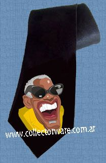 RAY CHARLES cartoon 1 DELUXE ART CUSTOM HANDPAINTED TIE  $28.00 + shipping   *Please see details at http://www.collectorware.com.ar/neckties-ray_charles.htm