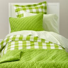 Green Breezy Gingham Bedding