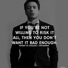 @wealthywords   Risking everything means you're ready to do whatever it takes and that you believe in yourself. This is crucial for success Sharing is caring. Like us for daily dose of motivation. Follow Us on twitter https://twitter.com/VivekMotivatesU or @VivekMotivatesU Quotes Inspirational Motivational Originally posted at http://ift.tt/1NHERzO For more Like us at http://ift.tt/1JmyUrh
