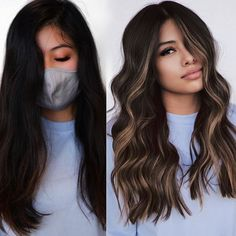 Dark Hair with Blonde Money Pieces and Highlights Black Hair With Highlights, Hair Color For Black Hair, Brown Hair Colors, Makeup With Black Hair, Black Highlighted Hair, Balyage On Black Hair, Dyed Black Hair, Ombre For Dark Hair, Long Hair Colors