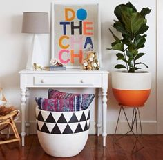 home inspiration: THE FIDDLE LEAF FIG. DIY ideas: the planter w the orange base, and the triangle design on the large bin (could paint one of those lightweight faux ceramic planters from Home Depot) Pop And Scott, Fiddle Leaf Fig Tree, Fiddle Fig, Painted Pots, Hand Painted, Home And Living, Living Room, Living Spaces, Home Decor Inspiration
