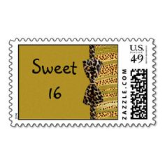 Golden Cheetah Sweet Sixteen Zebra Stripes Postage Stamps. Wanna make each letter a special delivery? Try to customize this great stamp template and put a personal touch on the envelope. Just click the image to get started!