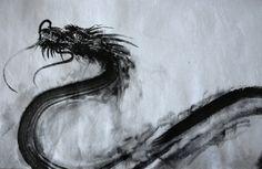 Japanese calligraphy dragon. Original sumi-e ink by SamuraiArt