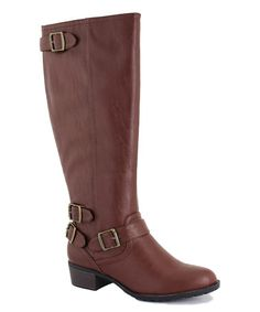 This Cognac Smooth Nashville Wide-Calf Boot is perfect! #zulilyfinds