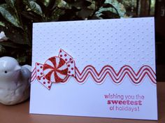clean and simple Christmas card ... luv all the Stickles to add shine ... great look to use the candy die cut as a break between textured and non-textured card stock ...