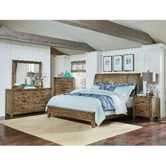 Bon Clearance Rustic Casual Pine 4 Piece Queen Bedroom Set   Nelson