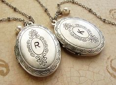 Initial oval locket necklace Personalized initial by soradesigns, $32.00