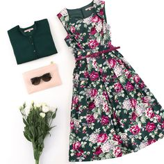 Devine Floral Dress | Maggie Long Sleeve Cardi | Oh So Lovely Pouch | Flatlay