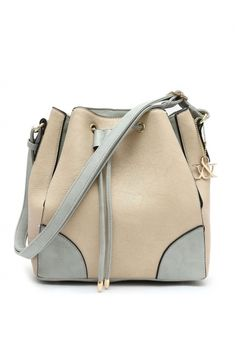 Draw Sting Two Tone WIht Shoulder Strap Bucket Style Hobo Bag