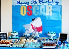 Shark Party Kids Birthday Party Theme Blue Marine Ocean Boy
