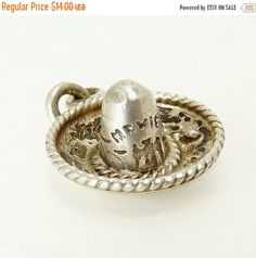Vintage Sterling Silver Sombrero Charm Mexican Charm by jujubee1
