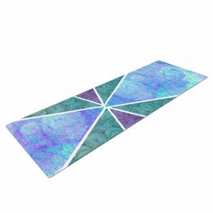 "Pom Graphic Design ""Reflective Pyramids"" Teal Purple Yoga Mat"