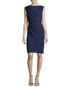 T99GZ Halston Heritage Sleeveless Cowl-Neck Crepe Dress, Midnight
