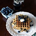Blueberry Sour Cream Waffles for When Gerard Butler Visits