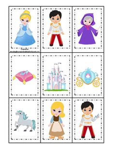 Cinderella themed Memory Matching child learning game. Preschool educational matching game. |