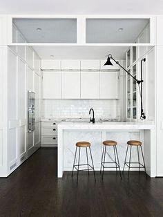 Apartment 34 by Hecker Guthrie All White Kitchen, New Kitchen, Kitchen Ideas, Kitchen Layout, Kitchen Small, Design Kitchen, Kitchen Tips, Cosy Kitchen, Kitchen Retro