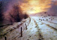 Rien Poortvliet (Netherlands 1932-1995)- Field and Geese