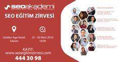 Seo Akademi'nin 25 - 26 Mart tarihlerinde düzenlemiş olduğu Seo Eğitim Zirvesi'nde Tasarım Optimizasyonu ve Mobil Seo Eğitimi vereceğim.  http://www.seoegitimzirvesi.com http://www.cemorman.com.tr