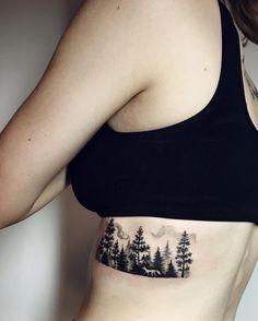 forest woman tattoo by sasha kiseleva
