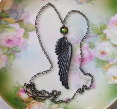 Ravens Wing Pendant Black Biker Chic Goth by Upsweptillusions