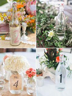 Rustic Country Wedding Ideas - Bottles and Jars Wedding Table Numbers / http://www.deerpearlflowers.com/51-creative-diy-wedding-table-number-ideas/
