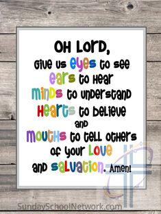 Prayer for Children Printable Poster Sunday School Wall Art   Etsy