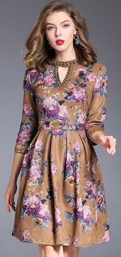 Vintage O-Neck 3/4 Sleeve Floral Print Beaded Skater Dress Floral Fashion, Women's Fashion Dresses, Girl Fashion, Women's Dresses, Womens Fashion, Fashion Design, Skater Dress, New Dress, Beautiful Dresses