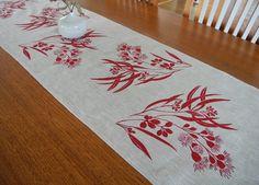 Linen Table Runner Hand Screen Printed Red&Natural Australian