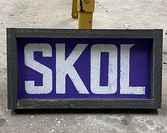 Minnesota Vikings head on wood SKOL metal art viking wall | Etsy Viking Head, Norwegian Flag, Blessed Sign, Football Wall, Distressed Signs, Great Smiles, Georgia Bulldogs, Photo On Wood, Minnesota Vikings