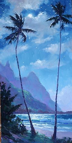 Tunnels Moonlight by Jenifer Prince, Oil Watercolor Painting Techniques, Watercolor Landscape Paintings, Seascape Paintings, Watercolor Art, Flor Magnolia, Hawaii Painting, Moonlight Painting, Hawaiian Art, Landscape Design Plans
