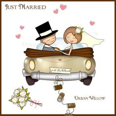 Clipart Just Married Car, Bride and Groom Clipart, Digital Graphics Wedding Car, Wedding Invitation Graphics, Digital Scrapbook Papers Wedding Anniversary Cards, Wedding Cards, Wedding Gifts, Car Wedding, Wedding Bride, Engagement Invitations, Wedding Invitations, Bride Clipart, Couple Clipart
