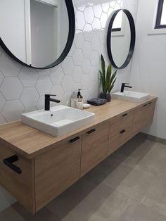 Home Interior Modern Downstairs bathroom idea - single sink though.Home Interior Modern Downstairs bathroom idea - single sink though Farmhouse Bathroom Mirrors, Bathroom Mirror Design, Modern Bathroom Tile, Wood Bathroom, Downstairs Bathroom, Bathroom Renos, Bathroom Interior Design, Minimalist Bathroom, Master Bathroom
