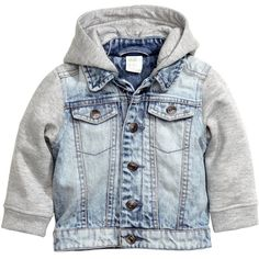 Hooded Denim Jacket $29.99 (95 BRL) ❤ liked on Polyvore featuring outerwear, jackets, snap button jacket, flap jacket, jean jacket, embellished jacket and hooded jean jackets