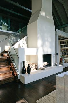love this home: staircase + fireplace
