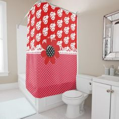 #Classic White Ladybugs Shower Curtain - #Bathroom #Accessories #home #living