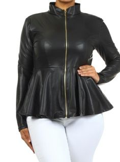 New Plus Size Faux Leather Jacket/Shirt in Black with Gold Zipper 1x 2x 3x
