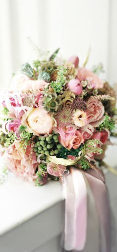 Wedding ● Bouquet, bridal bouquet, pinks, greens, soft, romantic, beautiful;  Weddings/ Elegant Designs By Joy Islip, N.Y. (631) 446-4600
