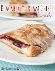 Easy Blackberry and Cream Cheese Danish from sixsistersstuff.com - check out the recipe and you will see just how easy it is to throw these together!