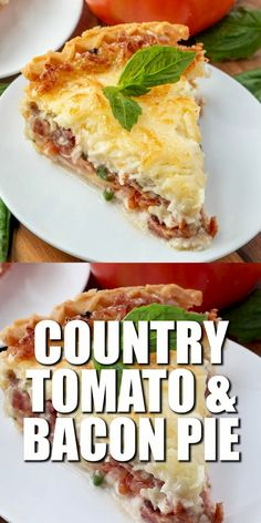 COUNTRY TOMATO BACON PIE Country Tomato and Bacon Pie is comfort food at its finest. Fresh tomatoes with layers of cheese and bacon all baked in a yummy pie crust! Bacon Recipes, Brunch Recipes, Casserole Recipes, Easy Dinner Recipes, Breakfast Recipes, Easy Meals, Cooking Recipes, Easter Recipes, Jam Recipes