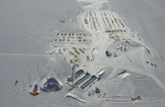Aerial view of the South Pole Station before the new station was built. This is the way that I remember it.